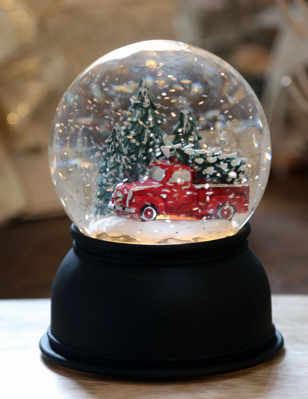 Lighted Glitter Traditional Style Water Globe With Red Truck and Christmas Tree Battery Operated - 72032-Melrose