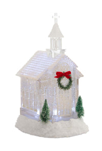 10.5 Inch LED Lighted Church Water Lantern Snow Globe With Evergreens and Wreath - 76837