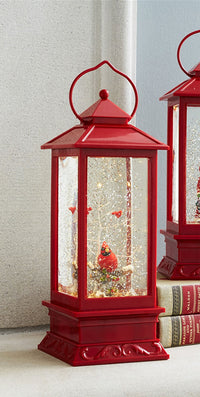 11 Inch Lighted Cardinal Red Water Lantern Battery Operated - 68564