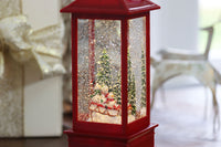 Red Lighted Water Lantern With Snow Family Sledding In Swirling Glitter With Timer - 72824
