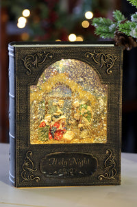 8.5 Inch Holy Night Nativity Lighted Water Book Lighted Water Lantern In Swirling Glitter - MTX62334 - NEW 2019