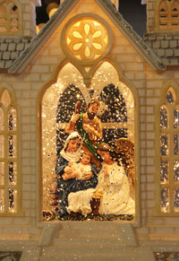 16 Inch Nativity Lighted Water Church Swirling Glitter With Timer - 2498960-nativity