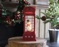10 Inch Snowman In English Phone Booth Lighted Water Lantern With Swirling Glitter - 2429100