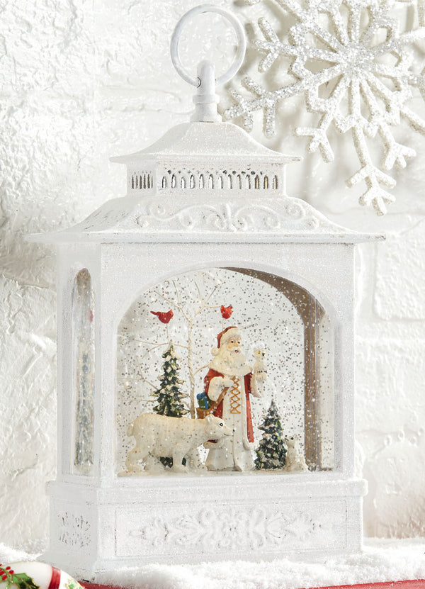 11 Inch Santa And Polar Bear Lighted Snow Globe Battery Operated with Timer From RAZ - 3800791