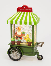 Flower Cart With Gnome Garden Scene Lighted Water Lantern Battery Operated - 2574350