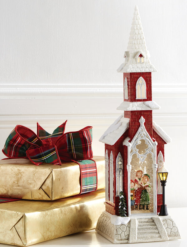 18.5 Inch Red Church With Carolers Lighted Water Lantern With Swirling Glitter - 3800781