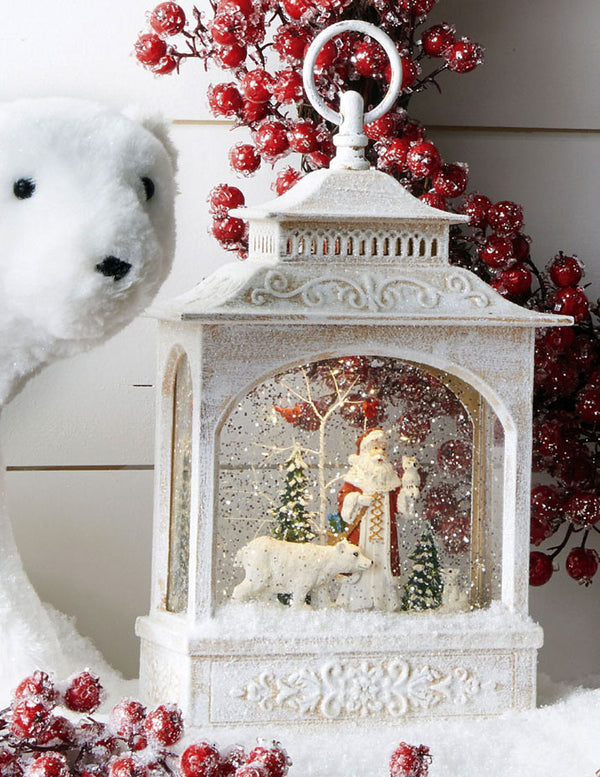 11 Inch Santa And Polar Bear Lighted Snow Globe Battery Operated with Timer - 3800791