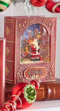 8.5 Inch Santa Lighted Water Book Lighted Water Lantern In Swirling Glitter - 3940501 - NEW 2019
