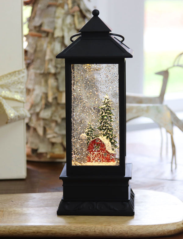Red Barn Lighted Water Lantern In Swirling Glitter With Timer - 72822