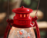 Red Hurricane With Snowman Lighted Water Lantern With Swirling Glitter  - 131198