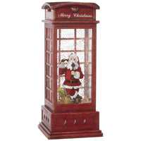 10 Inch Santa In English Phone Booth Lighted Water Lantern With Swirling Glitter - 3800789-RAZ