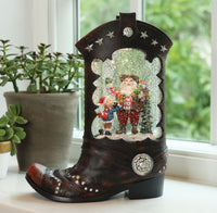 Cowboy Boot Lighted Water Lantern With Santa In Swirling Glitter - 2548310-Santa