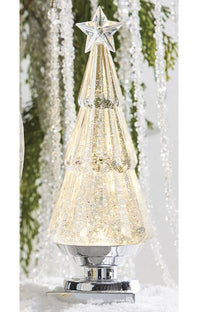 11.75 Inch Acrylic Lighted Tree With Silver Glitter Water Lantern  - Silver Base - 4016313 New 2020
