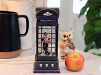 10 Lighted Skeleton Spinning Water Globe Halloween Phone Booth 2497610