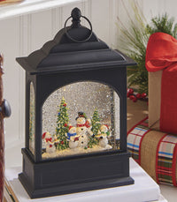 11 Inch Snowman Carolers Lighted Water Lantern With Swirling Glitter - 3800792