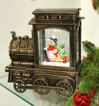 Lighted Train Water Lantern Snowman With Gifts In Swirling Glitter With Optional Music Setting - 4018803 - NEW 2020