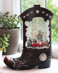 Cowboy Boot Lighted Water Lantern With A Red Truck In Swirling Glitter - 2548310 - Truck