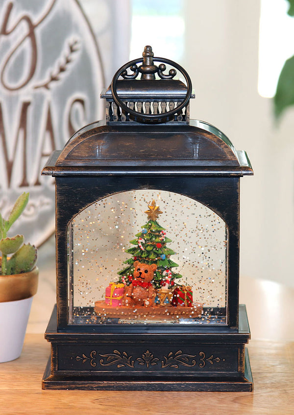 8 Inch Christmas Tree With Teddy Bear Lighted Water Lantern In Swirling Glitter - 2497460 NEW 2019