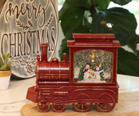 Lighted Train Water Lantern Caroling Snowmen With Swirling Glitter With Optional Music Setting - 2497420