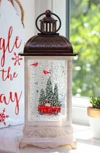 10.5 Inch Red Truck With Cardinals White Lighted Water Lantern With Swirling Glitter - 2497550 - Truck