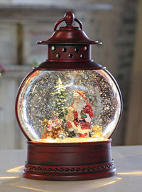 Santa With Pups Lighted Water Lantern Antique Red with Swirling Glitter - MTX62339 - NEW 2019