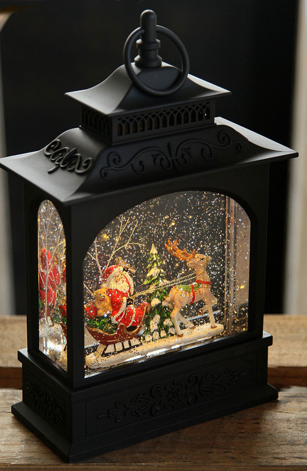 11 Inch Santa And Sleigh Snow Globe Lantern Battery Operated with Timer - 3740513
