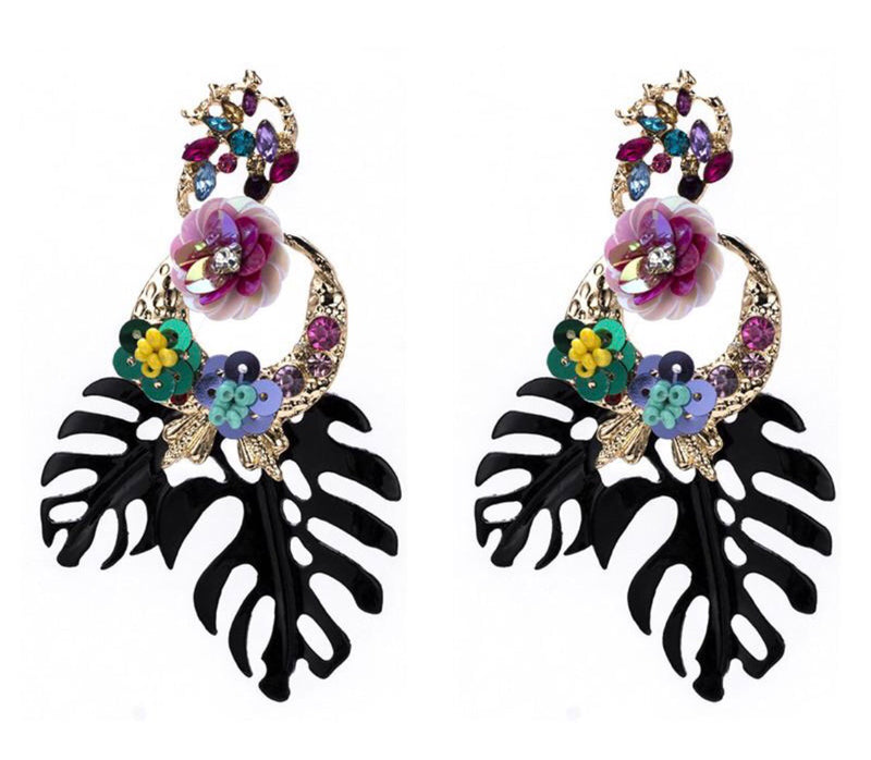 Brea Flower Drop Earrings in Black