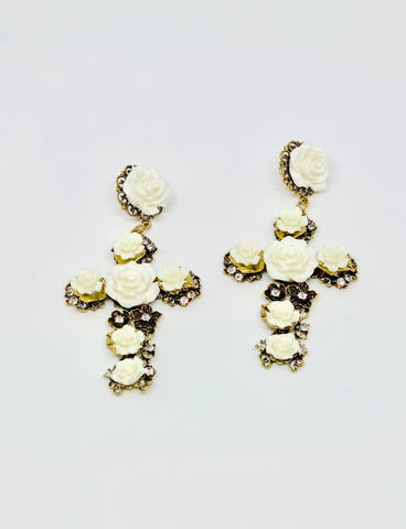 Rose Cross Earrings