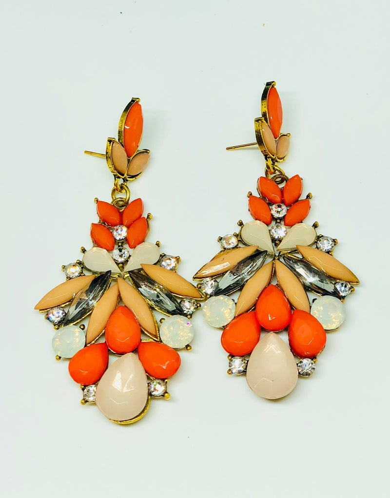 Dila Orange Dangling Earrings