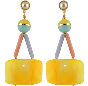 Rica Yellow Marble Drop Earrings