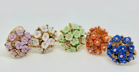 Flowerette Rings (5 Colors)