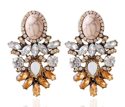 Peachy Earrings with Crystals