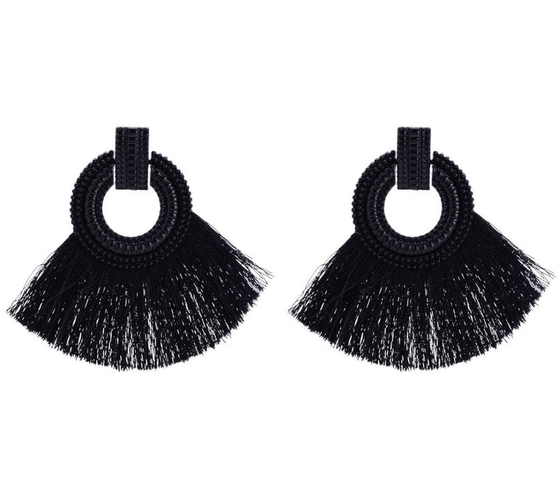 Adele Tassel Drop Earrings in Black