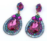 Magna Crystal Earrings in Magenta