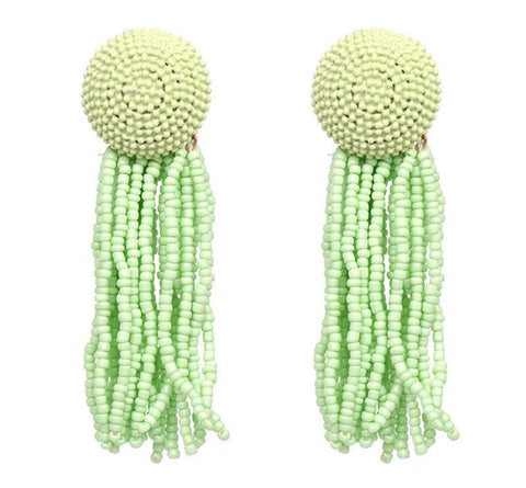 Brice Lime Green Bead Earrings