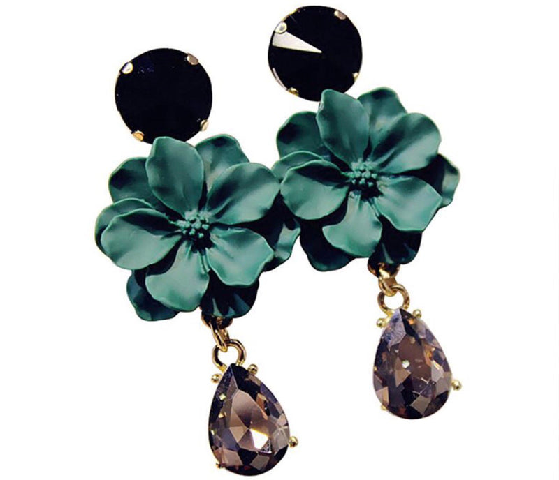 Flora Green and Black Fleur Earrings