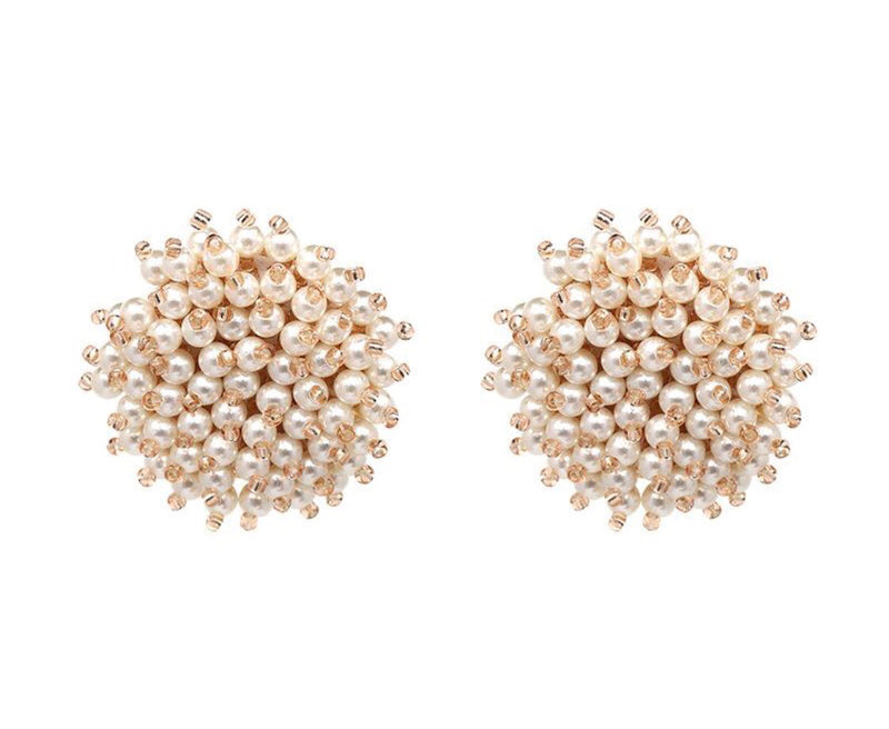 Sophie Stud Bead Earrings in Beige