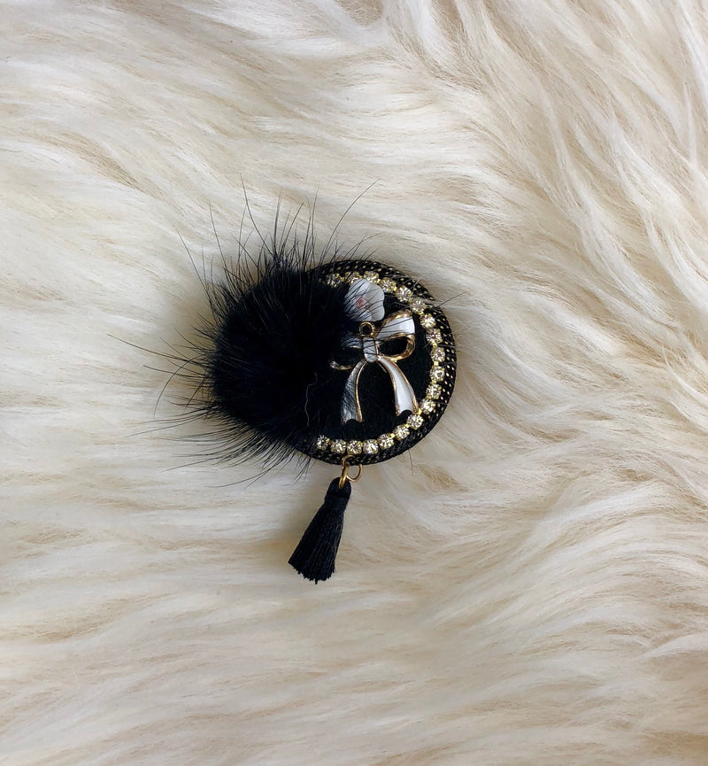 Robby Fur Brooch with Bow