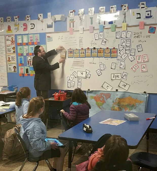 Rabbi Mollot's classroom with TorahLine Jewish Lesson Plan