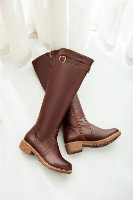 Winter Women Riding Chunky Low Heel Motorcycle Boots