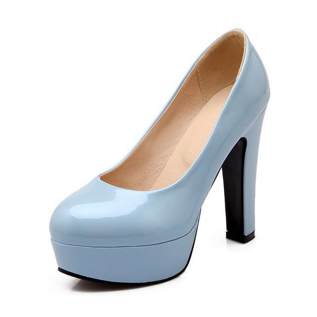 Casual Dress Shallow Mouth Round Heels Head Square High Heels Round Lady Schuhes 1e013a