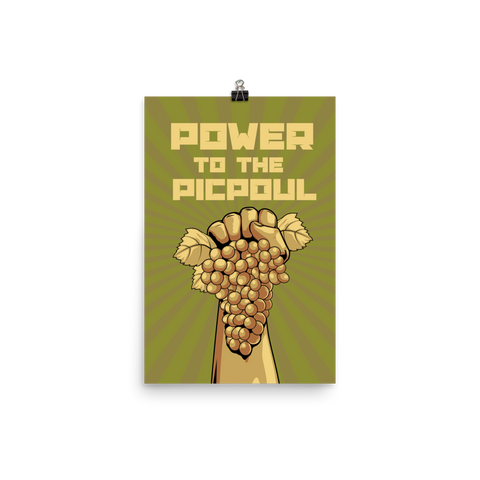 Power To The Picpoul Matte Wine Poster - Grape Obsession