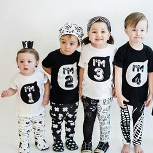 Toddler Child Summer Short Sleeve T Shirt Kids White Black Shirts For Baby Boy TShirt Girl Tops Tees 1 2 3 4 Years Birthday