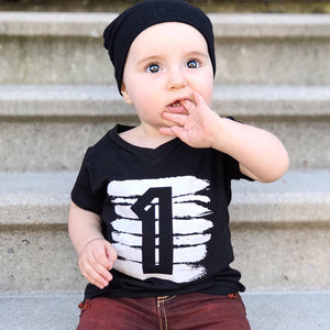 Summer Baby Girls T Shirt For Boy Tops Black White Birthday Outfits 1 2 3 4 Kids Tees Children Cotton Clothing
