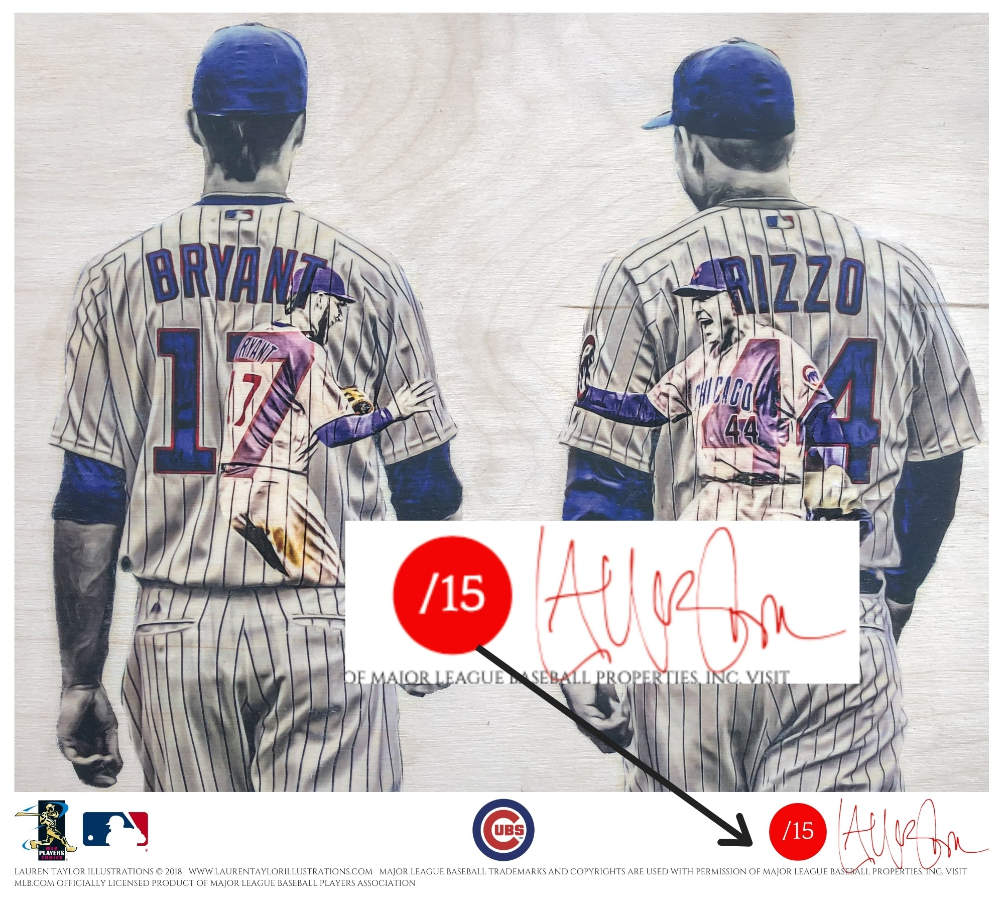 """Bryzzo"" (Kris Bryant and Anthony Rizzo) Chicago Cubs - Officially Licensed MLB Print - RED SIGNATURE LIMITED RELEASE /15"