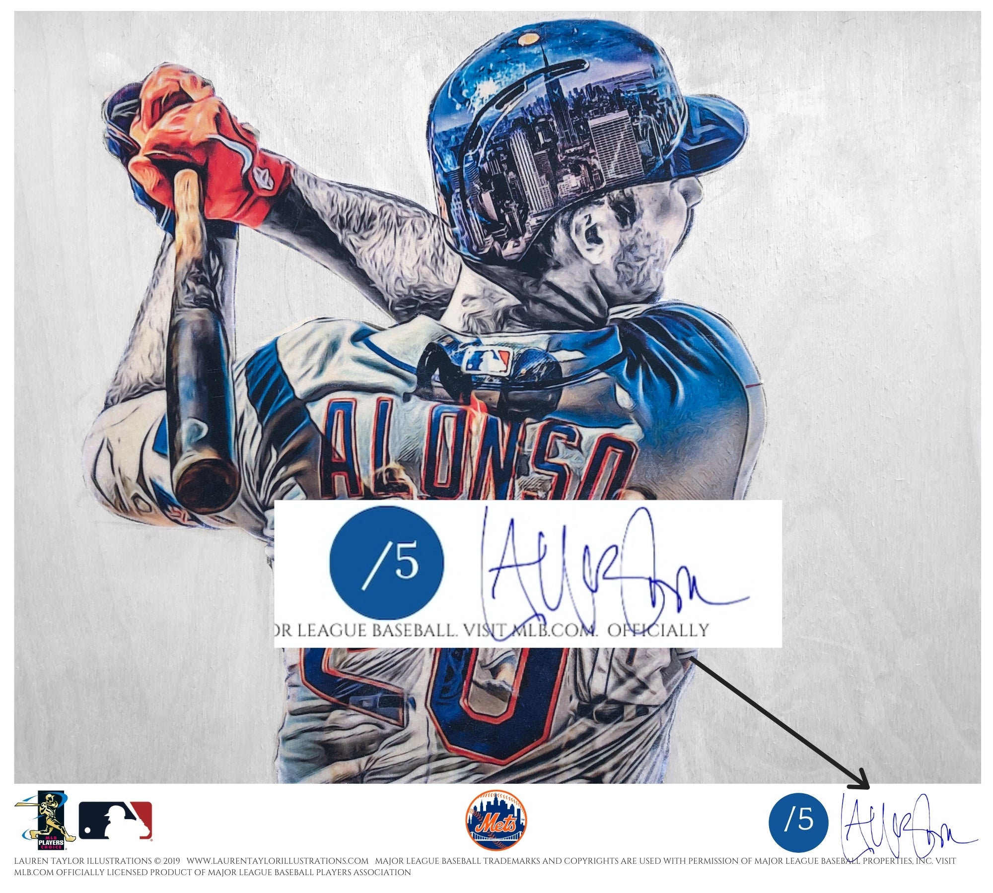 """Polar Bear"" (Pete Alonso) New York Mets - Officially Licensed MLB Print - BLUE ARTIST SIGNATURE Limited Release /5"
