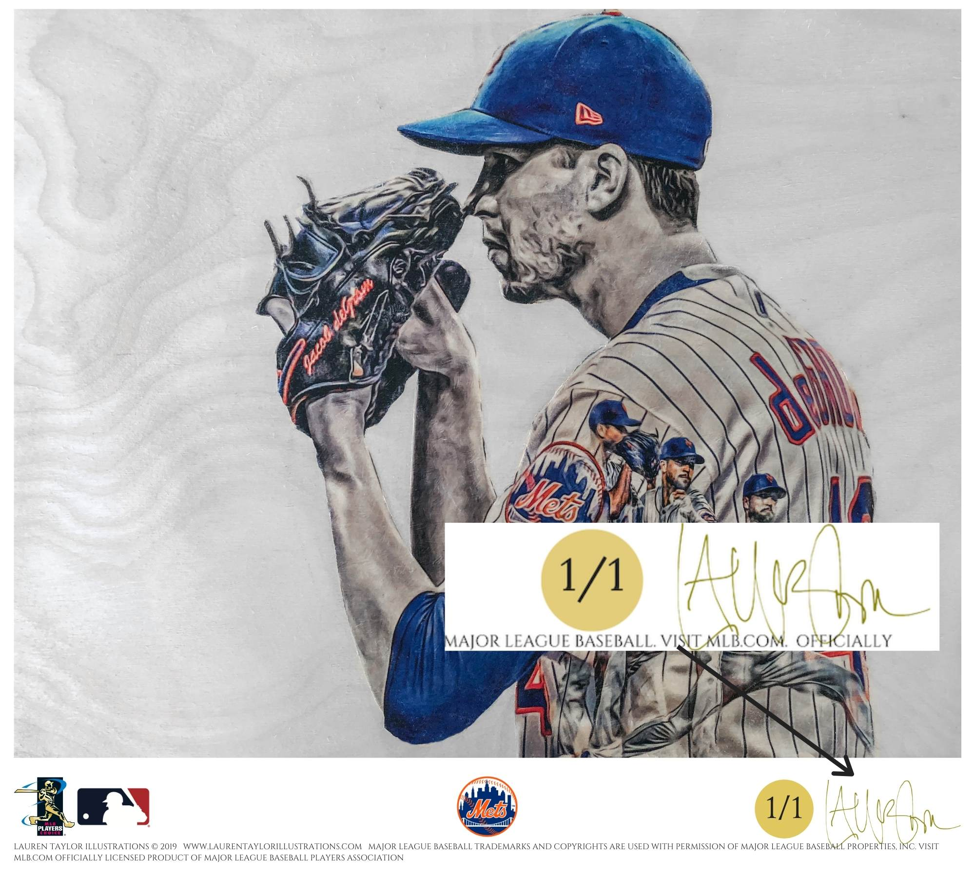 """deGrominator"" (Jacob deGrom) New York Mets - Officially Licensed MLB Print - GOLD ARTIST SIGNATURE Limited Release /1"
