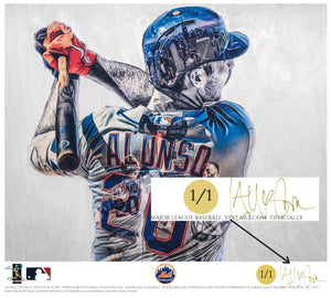 """Polar Bear"" (Pete Alonso) New York Mets - Officially Licensed MLB Print - GOLD ARTIST SIGNATURE Limited Release /1"