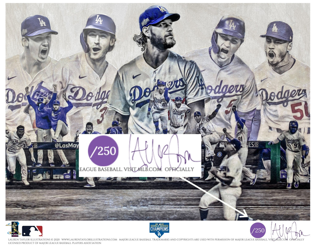 """Seven"" (Los Angeles Dodgers) 2020 World Series Champions - Officially Licensed MLB Print - Commemorative PURPLE SIGNATURE Limited Release /250"