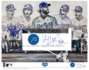 """Seven"" (Los Angeles Dodgers) 2020 World Series Champions - Officially Licensed MLB Print - Commemorative BLUE SIGNATURE Limited Release /5"